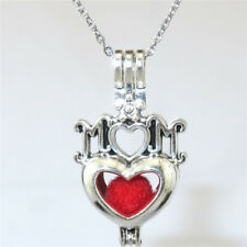 """V562 Vintage Silver I LOVE MOM Heart Pearl Cage Necklace 18""""  - Mothers' Day"""
