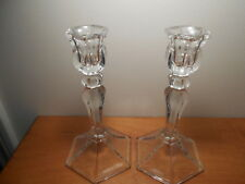 """Tall Glass Candlestick Vintage Homco Home Interiors 7 1/2"""" tall set of 2"""