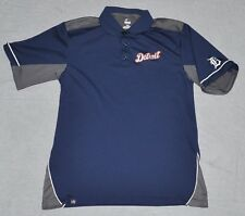 MAJESTIC Detroit Tigers Polo Shirt Men LARGE L Navy Blue Baseball MLB Polyester