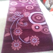 Quality, Modern Style Rug 60x110 cm Floral print Purple/Pink Easy to clean