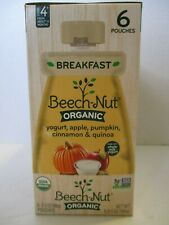 BEECH-NUT ORGANIC Yogurt,Apple,Pumpkin,Cinnamon 6 POUCHES STAGE 4 BABY FOOD