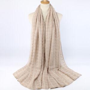 Fashion Women Ladies Scarf Plaid Shawl Hijab Muslim Headscarf Stripe Head Wraps