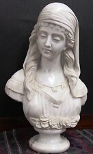"Beautiful 23"" Tall Vintage Solid White Carrara Marble Carved Bust of Gypsy Girl"
