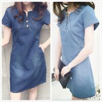 Women Summer Short Sleeve Casual Loose Jeans Denim Pocket Party Short Mini Dress