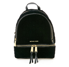 MICHAEL KORS Rhea Zip Small Leather Backpack Black for Woman with Free Gift