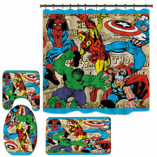 Marvel Avengers Bathroom Rugs Shower Curtain Bath Mat Toilet Lid Cover 4PCS Set
