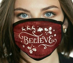 Believe FACE MASK Merry Christmas Winter Holiday Face Covering