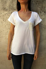Hollister Women Short Sleeved White Casuals T-Shirt V neck Authentic L Large 14