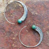 Böhmische Vintage 925 Silber Türkis Steinbock Hoop Ohrringe Stud Dangle