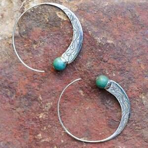 Bohemian Vintage 925 Silver Turquoise Capricorn Hoop Earrings Stud Dangle ~