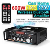 600W Digital HiFi Bluetooth Audio Stereo Amplifier Amp USB FM SD Mic Home Car UK