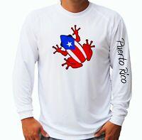Puerto Rico Flag Coqui Frog Long Sleeve UPF 30 T-Shirt Sport Boat UV Protection