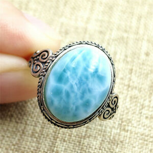 Genuine Natural Blue Larimar Water Pattern Dominica Adjustable Ring 14x11mm AAAA