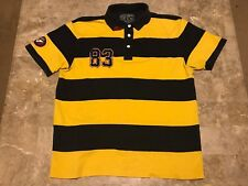 Nautica Jeans Company Spell-Out #83 NJC Patch Striped Polo Shirt Adult Size 2XL