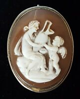 Silver & carved shell cameo vintage Victorian antique cupid brooch