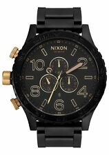 New Nixon Watch 51-30 Men's Chrono MATTE BLACK GOLD A083-1041 A0831041 box