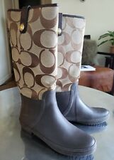 Signature Brown Coach Rain Boots