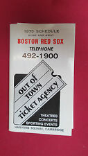 BOSTON RED SOX 1975 SCHEDULE- HOME AND AWAY FROM OUT OF TOWN TICKET AGENCY