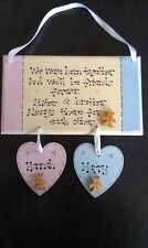 Personalised Baby Sisters Brothers Twins Boy Girl Christening Poem Gift Plaque