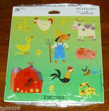 Hallmark Farm Stickers Farmer Cow Barn Chickens NIP 2 Sheets Free Ship Over $15