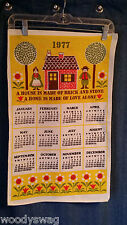 Vintage Calendar 1977 Linen Home is Love Flowers Kitchen Yellow Free USA Ship
