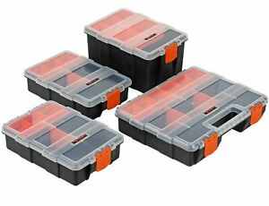4pc Storage Organiser Box for Screws Nails Nuts Craft Carry Case Tool Box
