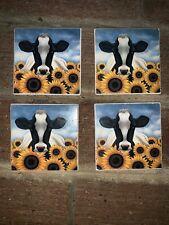 New listing Pier 1 Farm Daisy Milk Cow Ceramic Tile Coaster 4 Pack Set Lot Cork Back 4 x 4 !
