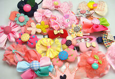 Wholesale 2pcs girl baby toddler boutique Hair Bow mixed ribbon with clips 0eh
