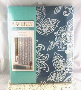Waverly BELINDA BLUE White Fabric Jacobean Floral Shower Curtain Brand New