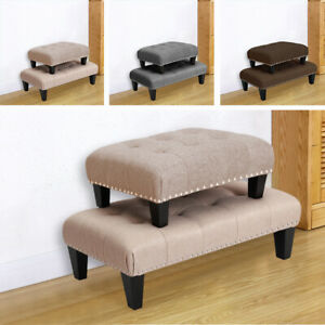 Linen Fabric Footstool Ottoman Footrest Chair Low Stool Button Top Bench Hallway