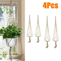 4pcs Macrame Rope Plant Hanging Basket Flower Pot Hanging Holder Garden Decor
