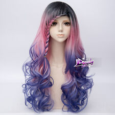 68CM Black Pink Blue Mixed Long Curly Hair Lolita Women Ombre Anime Cosplay Wig