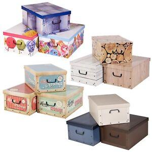 3 Large Collapsible Cardboard Storage Boxes Elegant Lightweight Lids & Handle