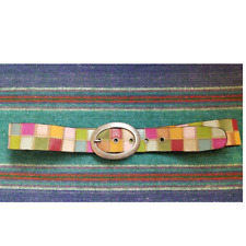 FOSSIL MULTI COLOR LEATHER PATCHWORK BELT