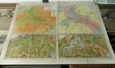 DISTRICT OF PANAMA~VINTAGE/ANTIQUE LINEN BACKED TEACHERS CLASSROOM MAP~c.1914