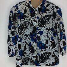 Kaktus Plus Women's Long Sleeve Button Front Blouse Sz. 1X Multi-Color Floral