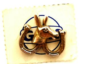 GULF Oil Democratic Party Donkey with Horseshoe's Pin on original card 1960's