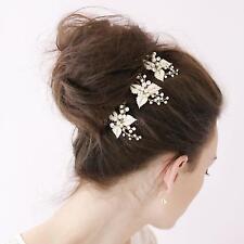 3pcs Fashion Wedding Pearl Flower Crystal Hair Pins Bride Hair Accessories