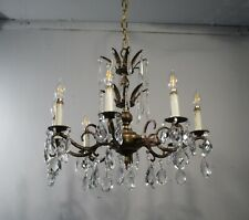 Antique Vintage Spanish Bronze Chandelier 8 Light Fixture Crystals