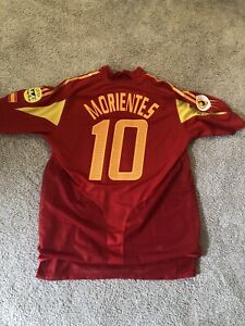 Morientes Euro 2004 Spain Dual layer Jersey kit. Spain v Russia match detail. XL