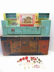 Marx 1950s Modern Kitchen Set Rare Mint Green Color Beautiful Time Machine Piece