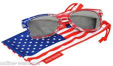 US American Flag Silver Mirror Retro Sunglasses Glasses US Patriotic 4th of July