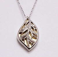 New 925 sterling silver 14k yellow gold .13ct diamond leaf pendant necklace 4.1g