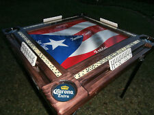 Domino Tables by Art with Puerto Rican Flag, Personalized with Names and Towns
