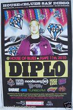 DIPLO 2010 SAN DIEGO CONCERT TOUR POSTER - EDM, Major Lazer, American DJ