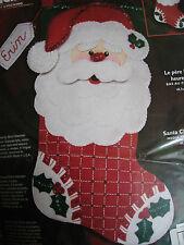 "Bucilla Christmas STOCKING FELT Applique Holiday Craft KIT,HAPPY SANTA,18"",84819"