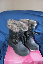 Khombu Ladies Womens Size 7 Boots Winter Faux -20 Black