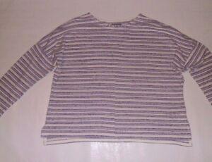 M&S Indigo Lilac and White Striped Top Size 12