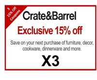 Three (3) Crate and Barrel Coupons 15% | Instant Use | Works on Furniture Too