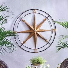"30"" Metal Coastal Star Compass Wall Art Indoor Outdoor Patio Antiqued Wall Decor"